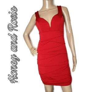 Honey and Rosie red tiered size medium dress